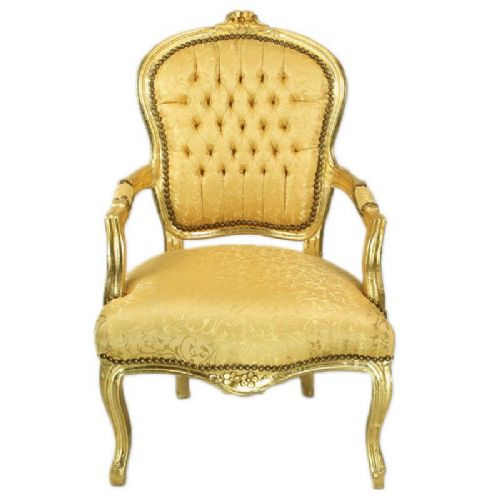 CHAIRS FRANCE BAROQUE STYLE LADY CHAIR WITH ARMRESTS GOLD / GOLD #55F3
